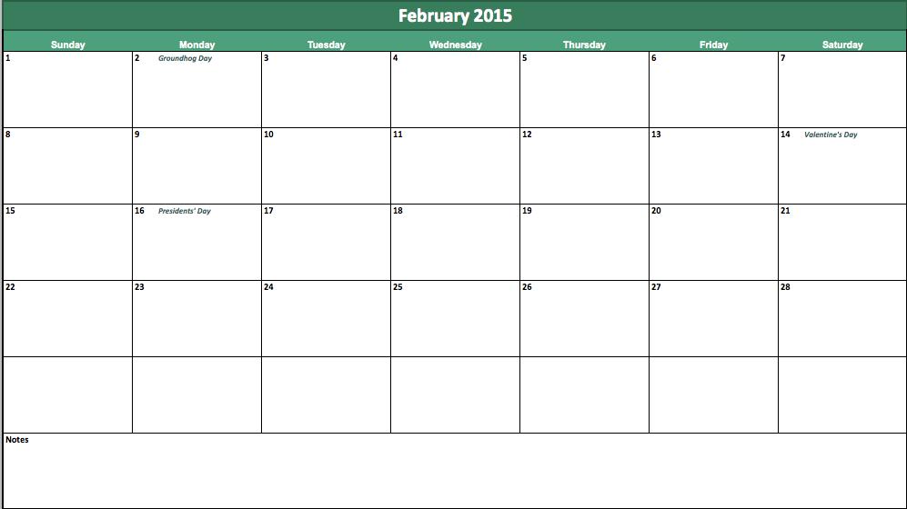 February Calendar 2015 Template Costumepartyrun