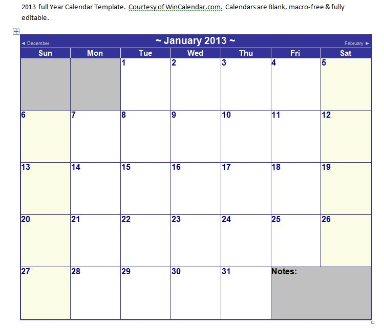 Microsoft Word Calendar Template 2013 Microsoft Word 2013 Calendar