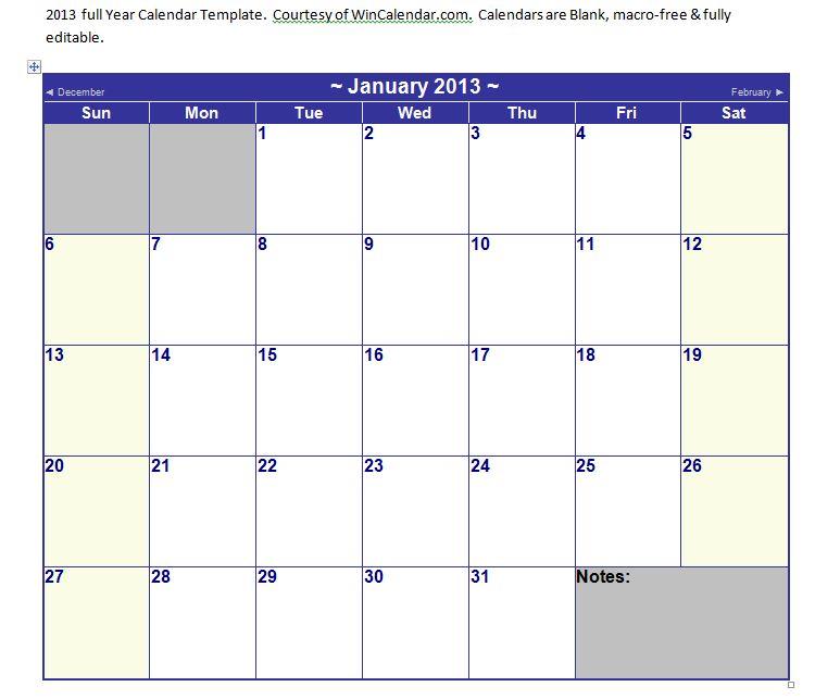 calendars in word 2013