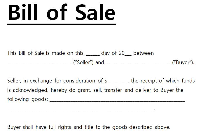 business bill of sale template - bill of sales generic