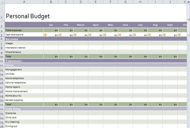 Personal Budget Template Free Personal Budget Template - personal budget template