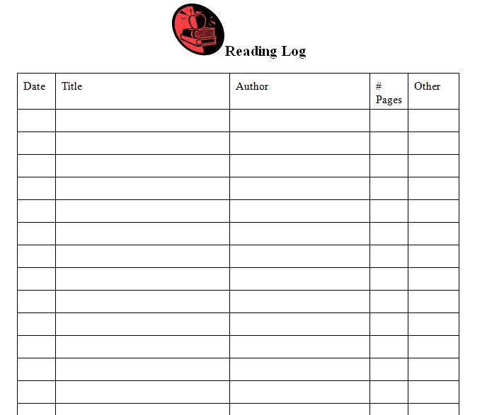 Reading Log Template Reading Log Template Middle School - microsoft word sign template
