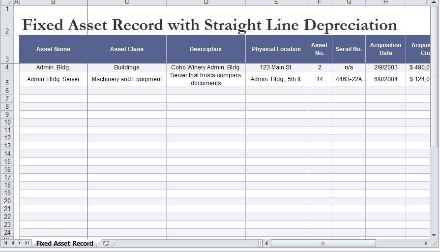 straight line depreciation excel template