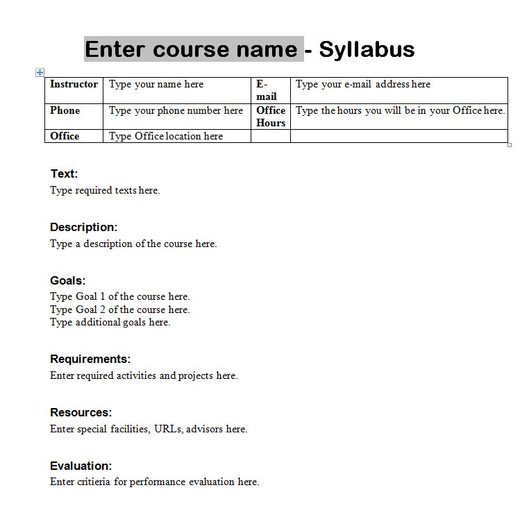 Syllabus Template Course Syllabus Template - syllabus template word