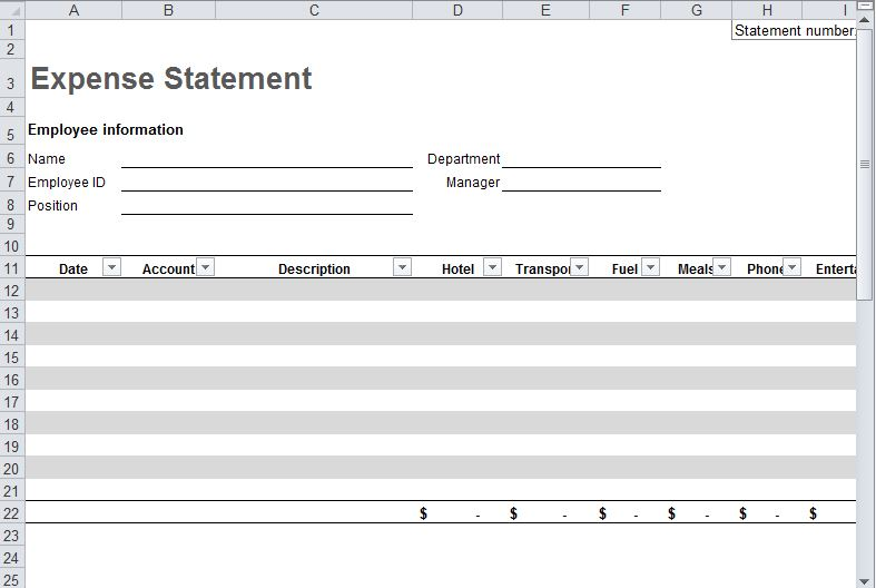 Expense Report Template - printable expense report