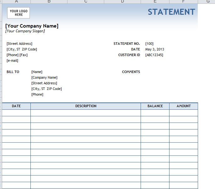 invoice statement template - billing invoices free printable