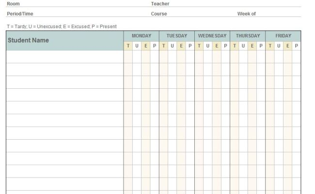 download the monthly class attendance template from vertex42 com