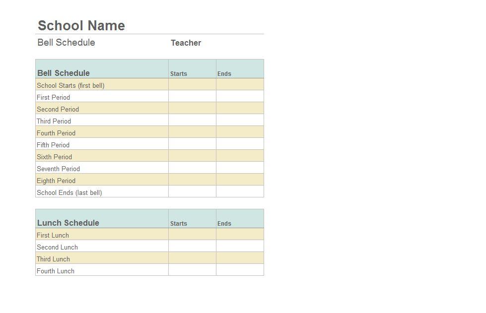 Class Schedule Template Free Class Schedule Template