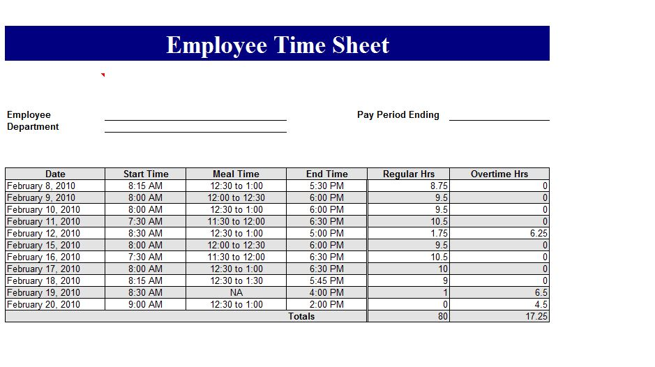 excel time card template - employee time card