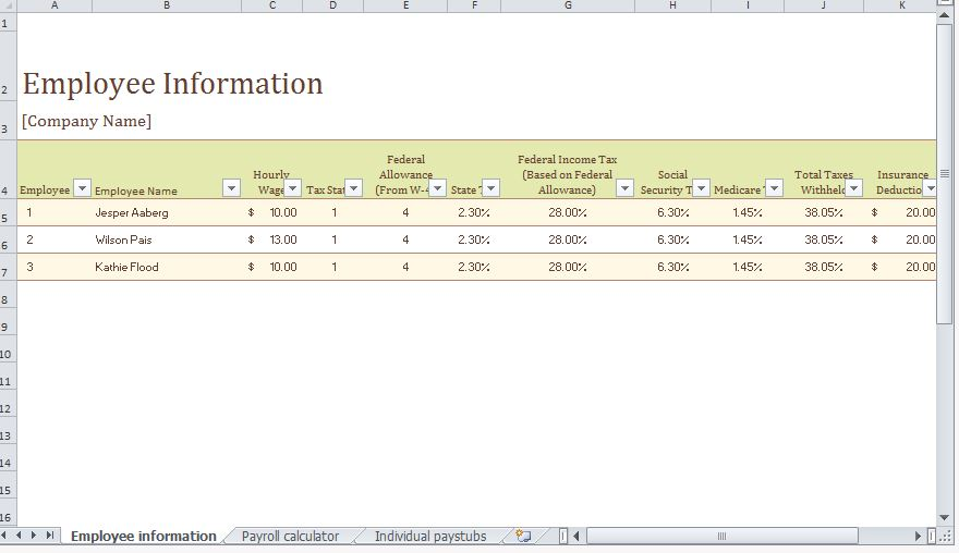 Payroll Template Excel Payroll Template Free Payroll Templates - payroll templates free