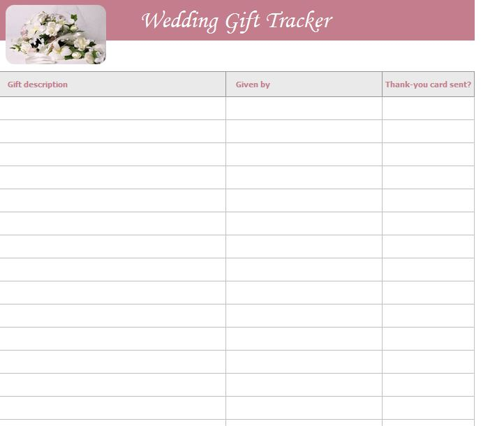 Wedding Gift List Template Free Wedding Gift List Template