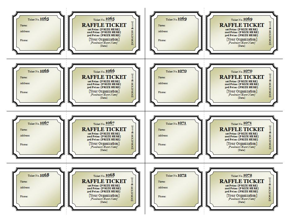 raffle ticket template - Free Printable Raffle Ticket Template Download