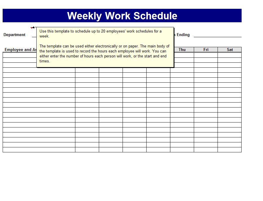 Weekly Work Schedule Template Work Schedule Template Weekly