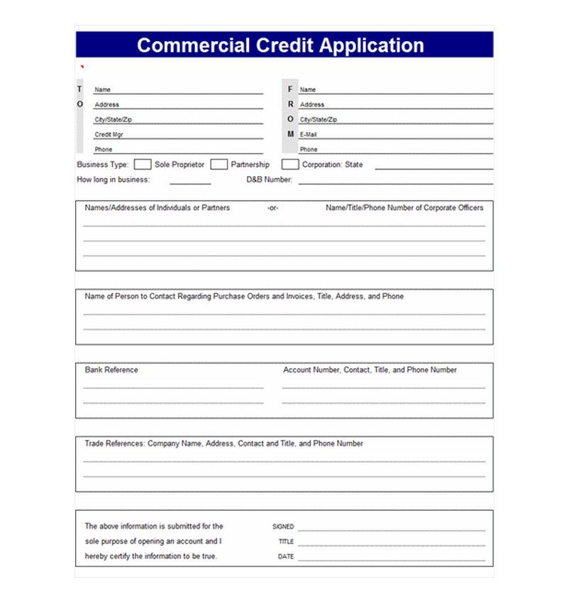 Credit Application Template Credit Application Templates