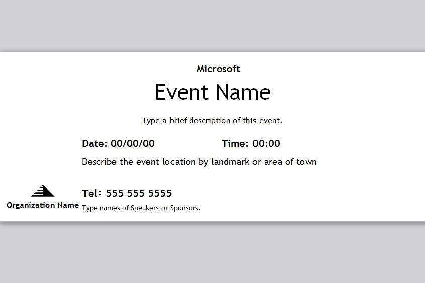 blank event ticket templates free