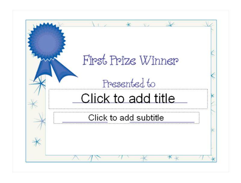 First Place Award Template First Place Award - first place award template