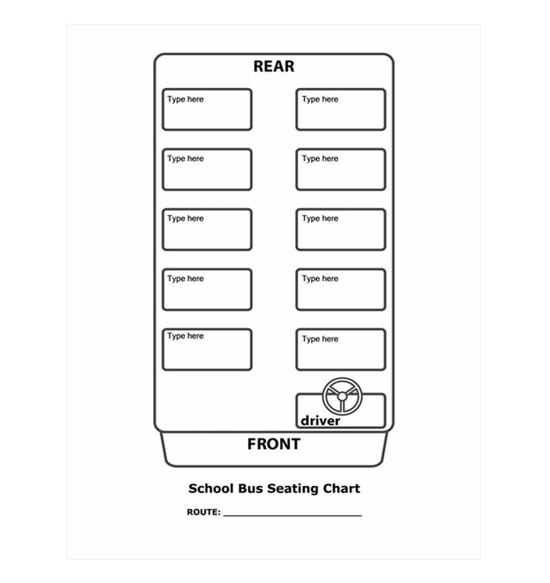 School Bus Seating Chart School Bus Seating Template