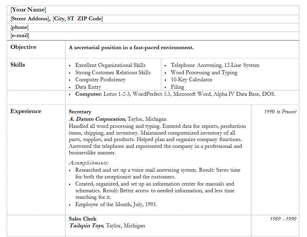 resume templates word secretary