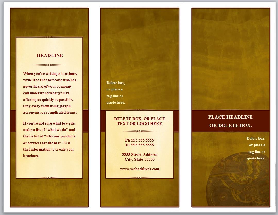 printable pamphlet template