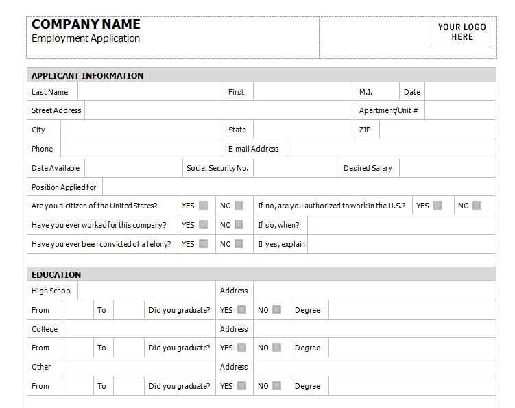 Application for Employment Template Application for Employment