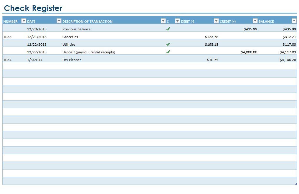 Checkbook Register Checkbook Register Template