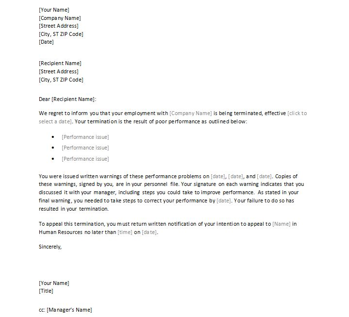 Job Termination Letter Sample Employee Termination Letter For