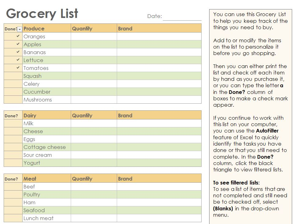 Grocery Checklist Grocery List Template