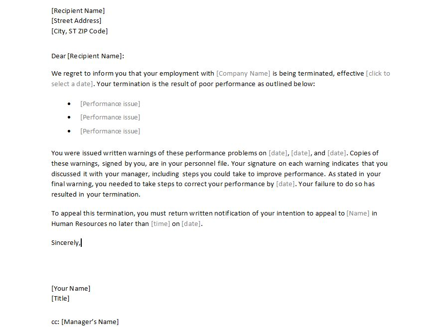 free sample termination letter - Ozilalmanoof - employment termination letters