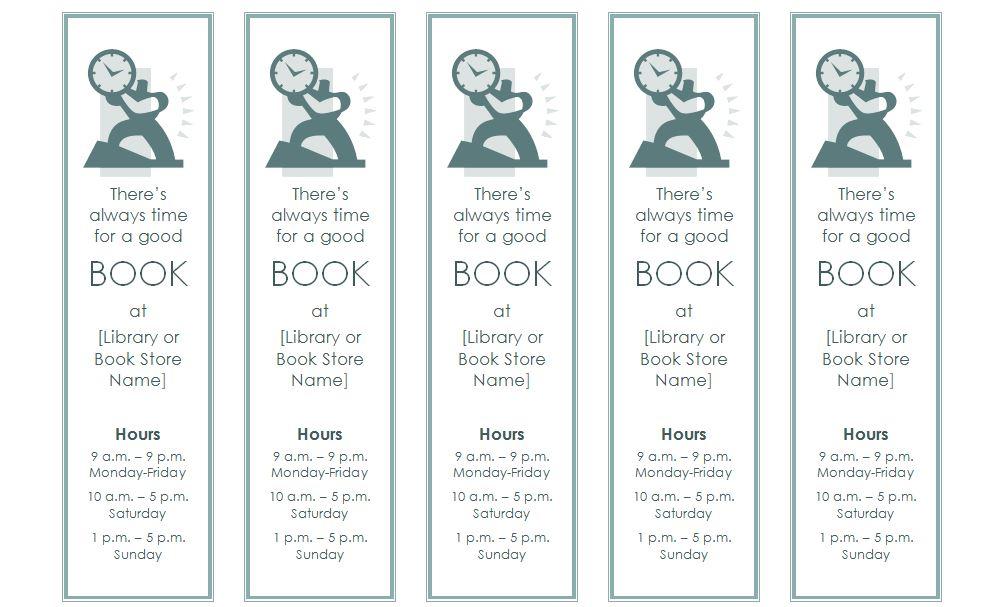 microsoft bookmark template