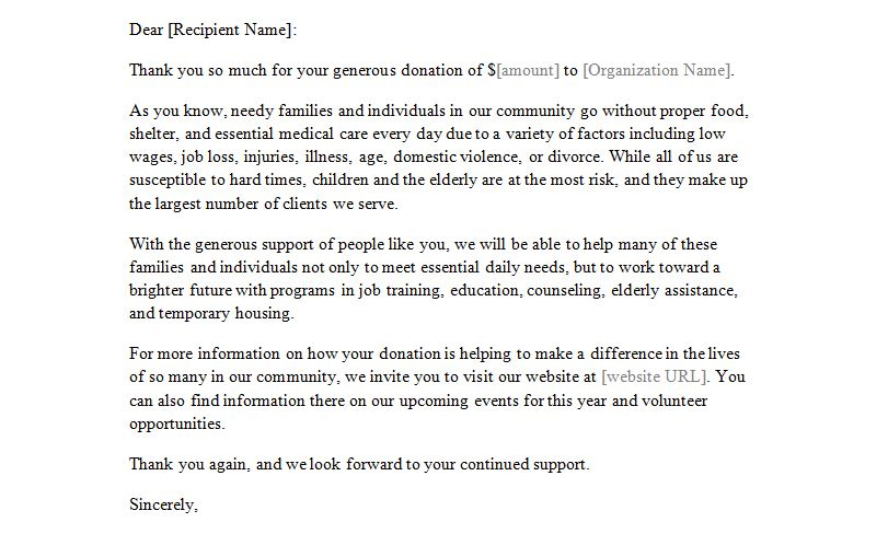 Donation Letter Template Letter of Donation Template