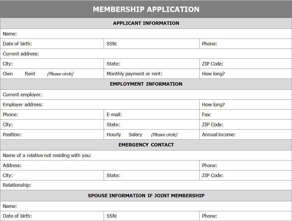 membership form templates sample document resume membership form templates club membership registration form form templates membership application form application for membership form