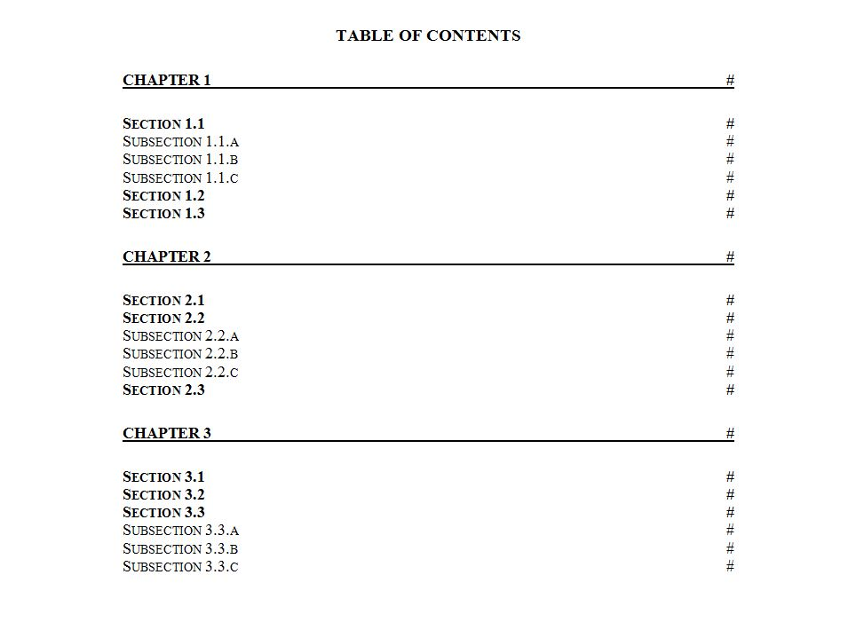 Table of Contents Template Word Table of Contents Word Template