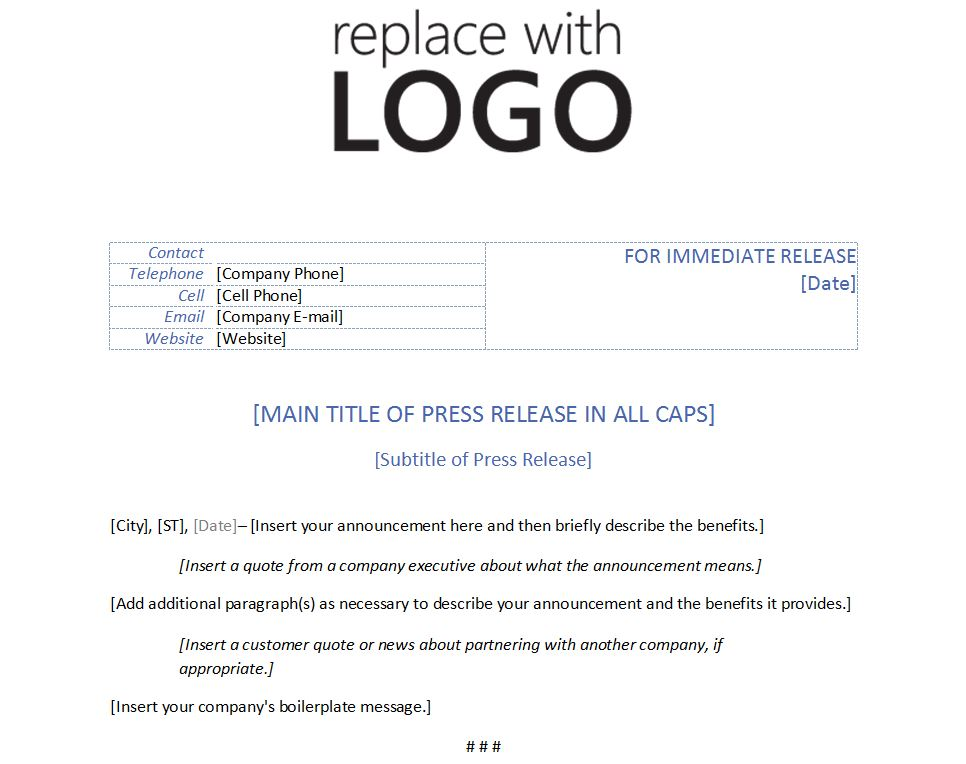 Template for Press Release Template Press Release - press release template