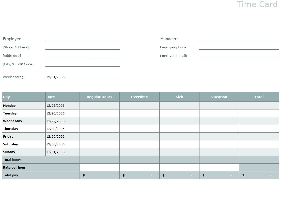timecard template word