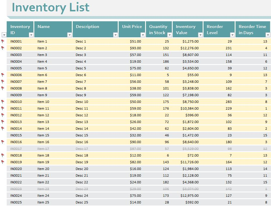 Small Business Inventory Control Template