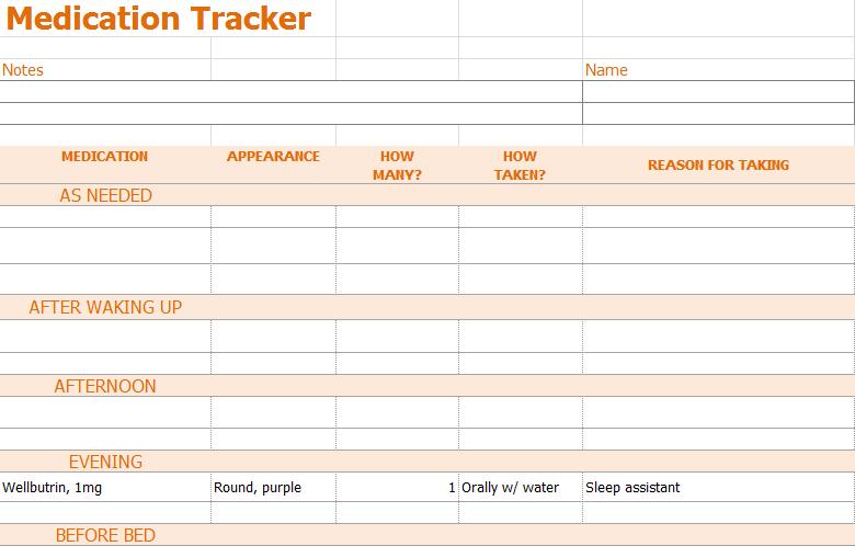 medication inventory log