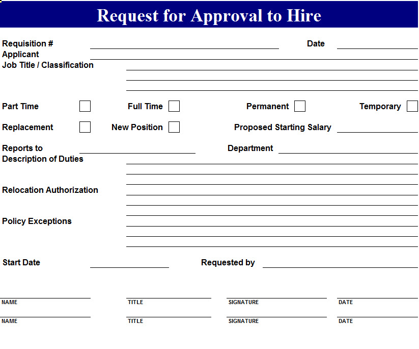 Free Basic Employee Self Evaluation Form From Formville Approval To Hire Request Template My Excel Templates