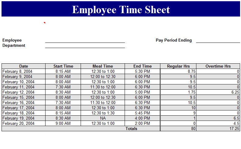 Employee Time Sheet Template - My Excel Templates