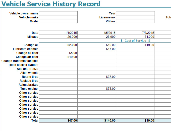 Vehicle Service History Record Template - My Excel Templates
