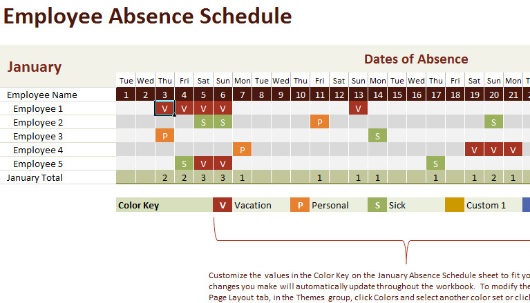 vacation calendars for employees