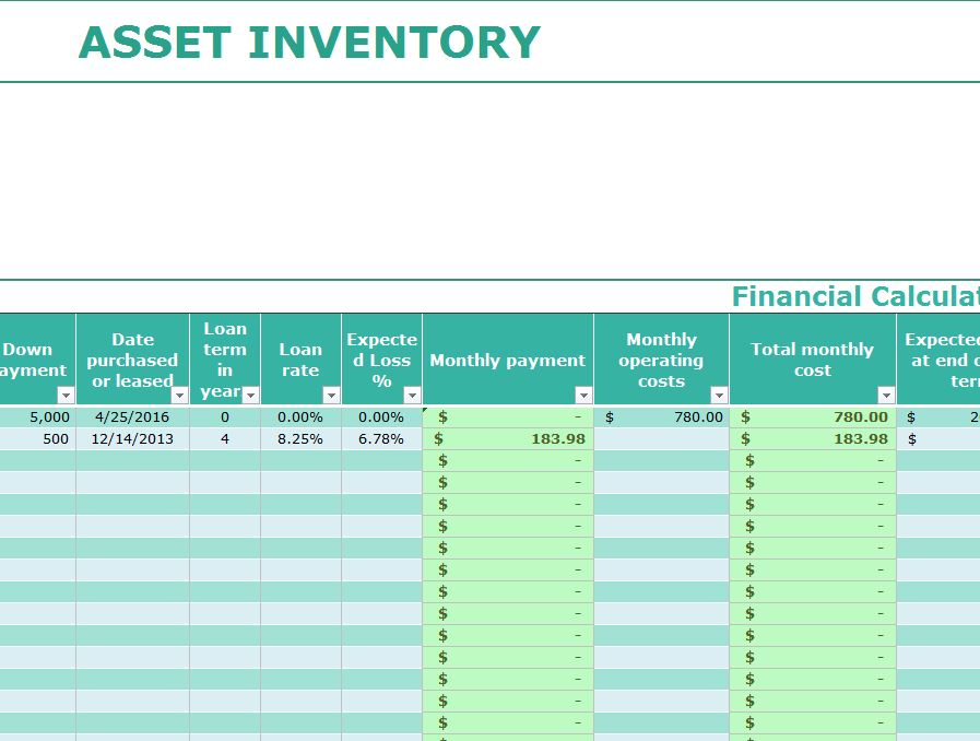Asset Inventory Template - My Excel Templates