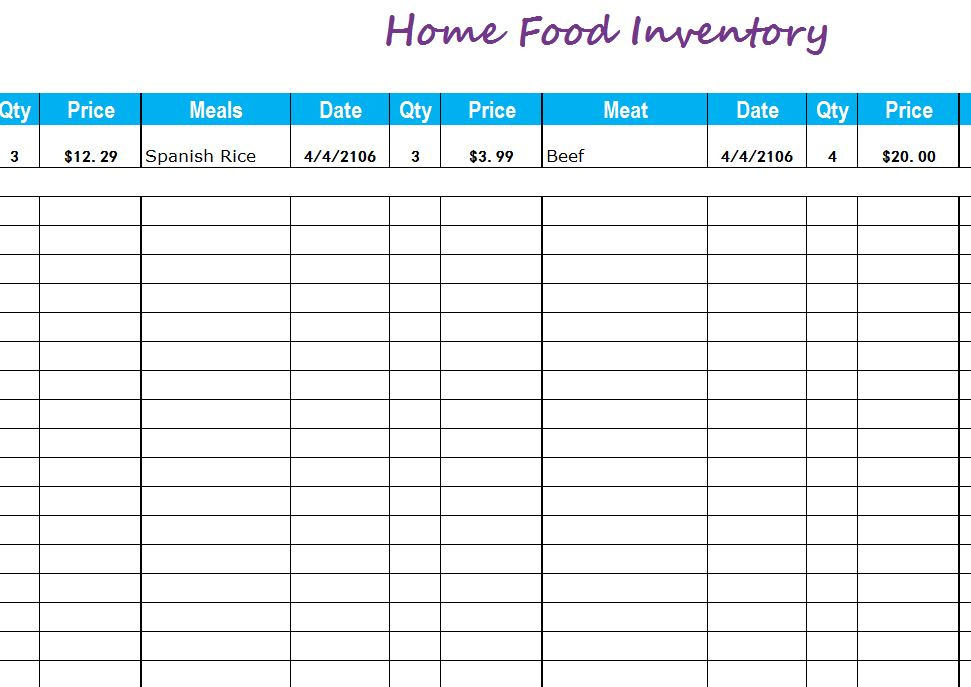 Home Food Inventory - My Excel Templates - food inventory template