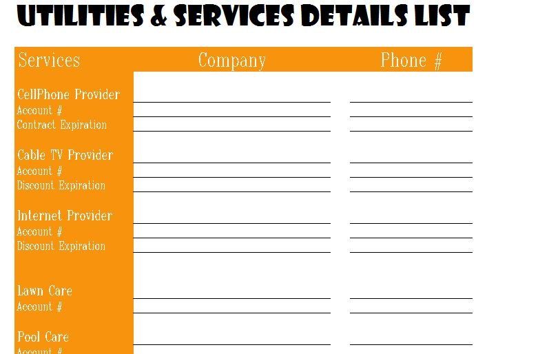 Sample Blank Checklist Template Sample Templates Utilities And Services Detail List My Excel Templates