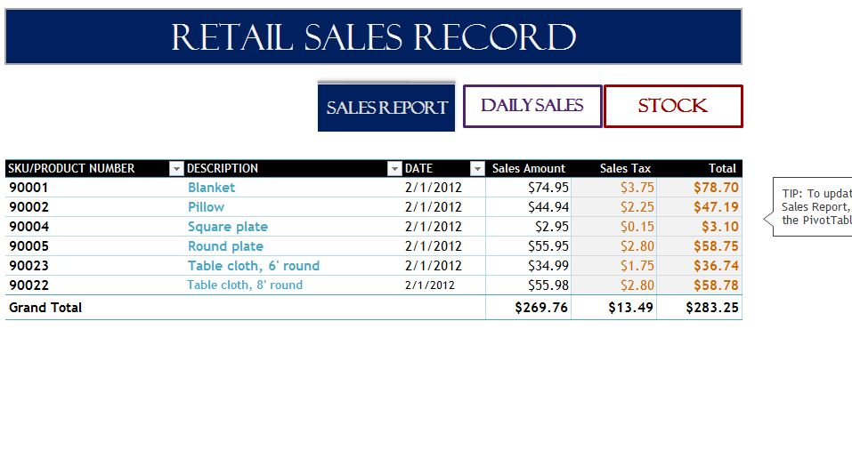 excel templates sales