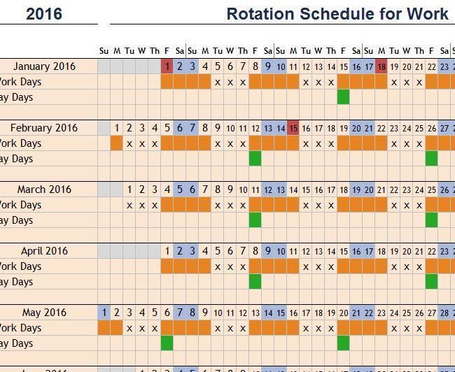 employee work schedule excel