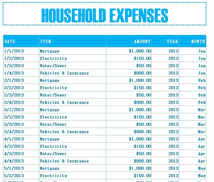 Household Budget Expenses - My Excel Templates