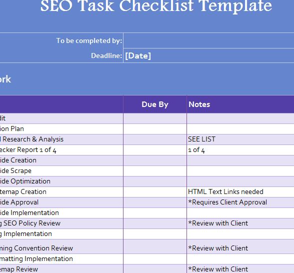 SEO Task Checklist - My Excel Templates - seo plan template