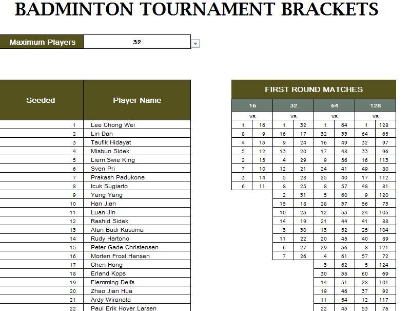tournament fixtures template