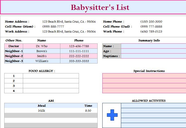 Babysitter\u0027s List Template - My Excel Templates