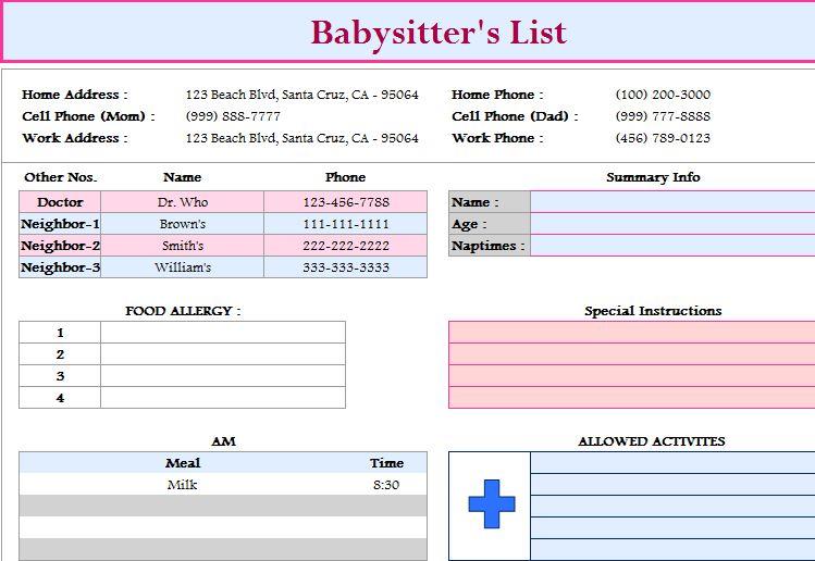 Babysitter\u0027s List Template - My Excel Templates